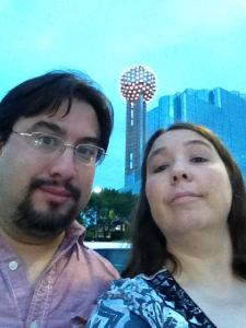 Me and Amy after arriving to Reunion Tower, to meet my doom. Spoiler alert, I survived.